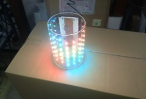 LED表示板 製作  円筒型透明フルカラードット表示器1号機